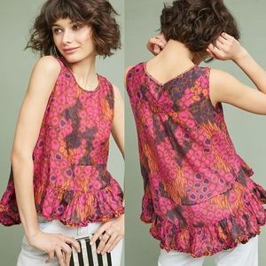 Anthropologie Ruffled Leopard Blouse